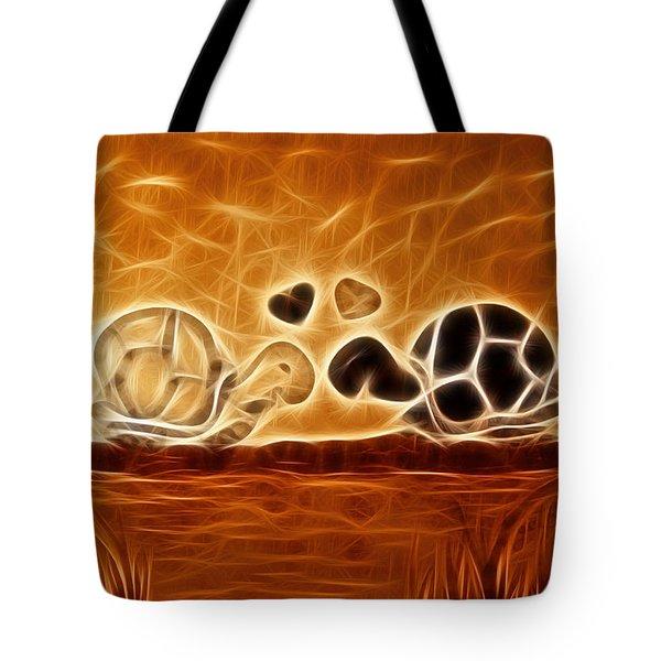 Turtles Love Fractalius Tote Bag by Georgeta Blanaru