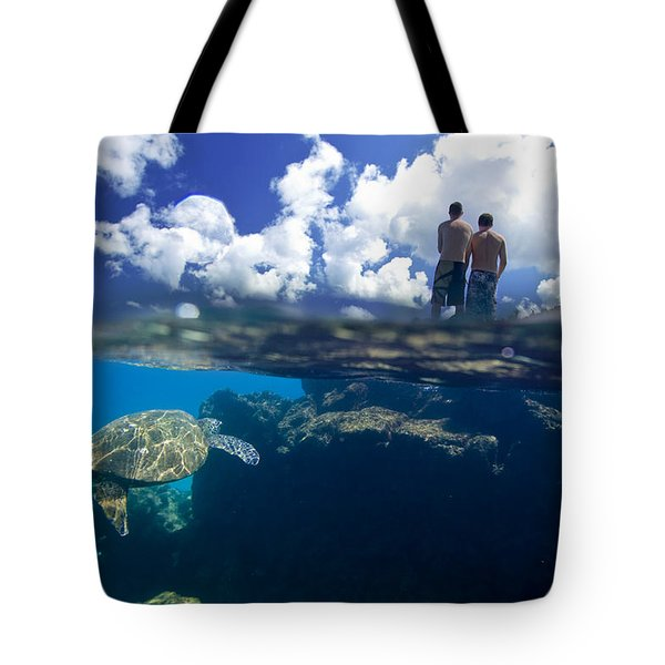 Turtles View Tote Bag by Sean Davey