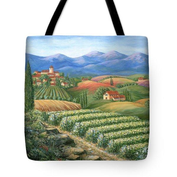 Tuscan Vineyard And Village Tote Bag by Marilyn Dunlap