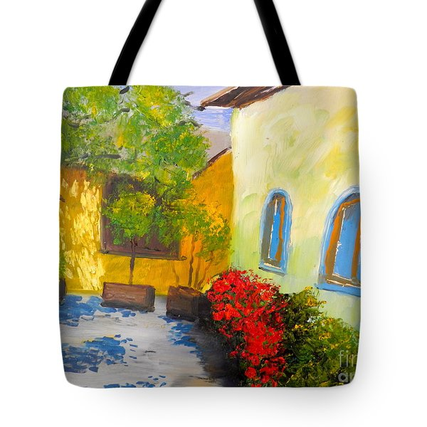 Tuscany Courtyard 2 Tote Bag by Pamela  Meredith