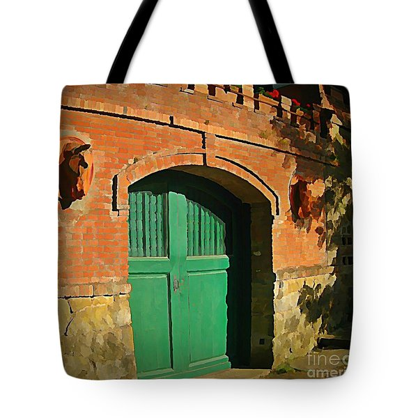 Tuscany Door With Horse Head Carvings Tote Bag by John Malone