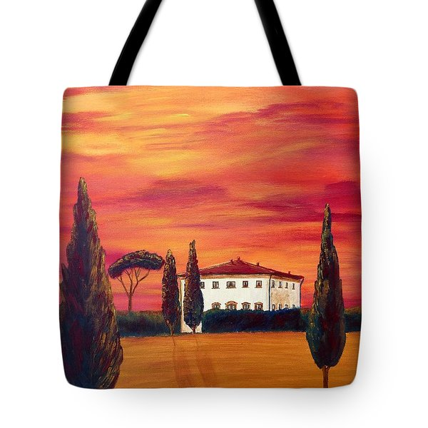 Tuscany In Red Tote Bag by Christine Huwer