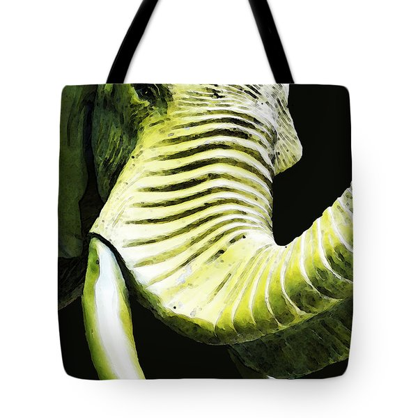 Tusk 1 - Dramatic Elephant Head Shot Art Tote Bag by Sharon Cummings