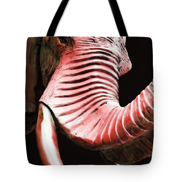 Tusk 4 - Red Elephant Art Tote Bag by Sharon Cummings