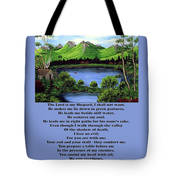 Twenty-third Psalm With Twin Ponds Blue Tote Bag by Barbara Griffin