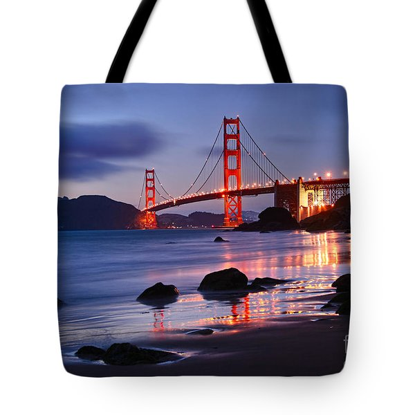 Twilight - Beautiful Sunset View Of The Golden Gate Bridge From Marshalls Beach. Tote Bag by Jamie Pham