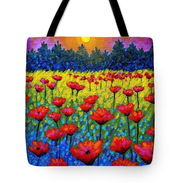Twilight Poppies Tote Bag by John  Nolan