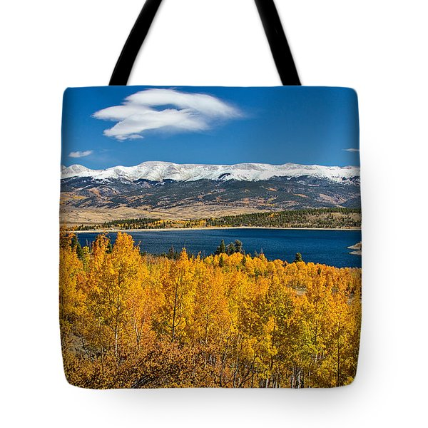 Twin Lakes Colorado Autumn Snow Dusted Mountains Tote Bag by James BO  Insogna