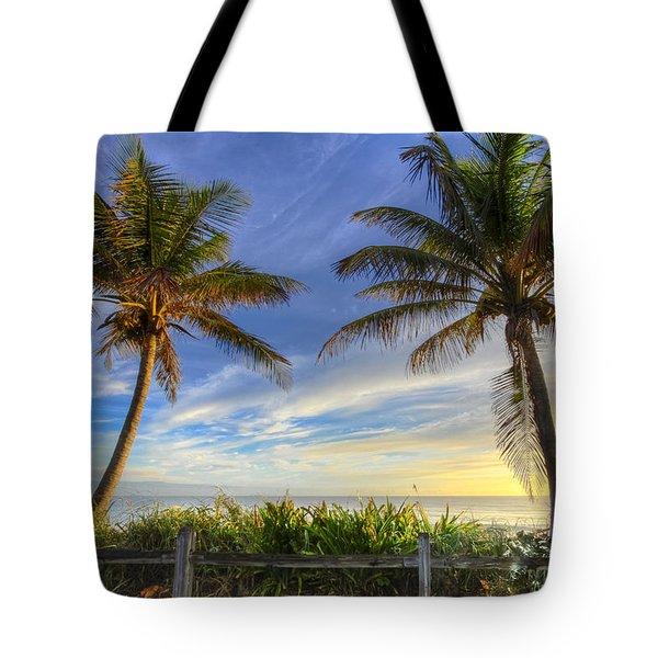 Twin Palms Tote Bag by Debra and Dave Vanderlaan