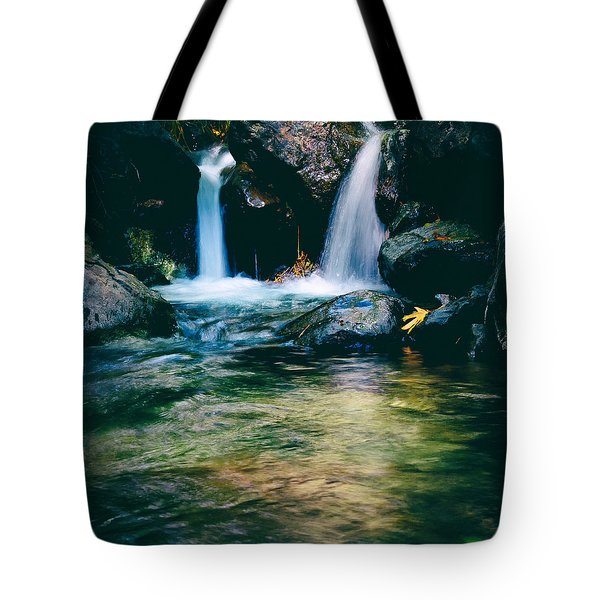 twin waterfall Tote Bag by Stylianos Kleanthous