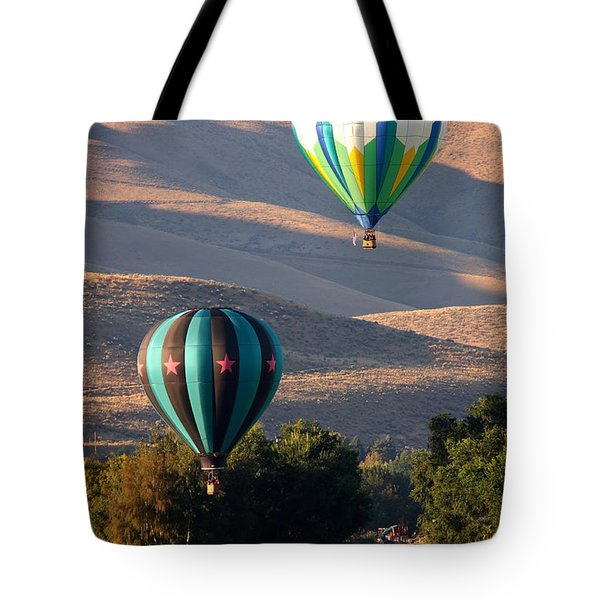 Two Balloons In Morning Sunshine Tote Bag by Carol Groenen