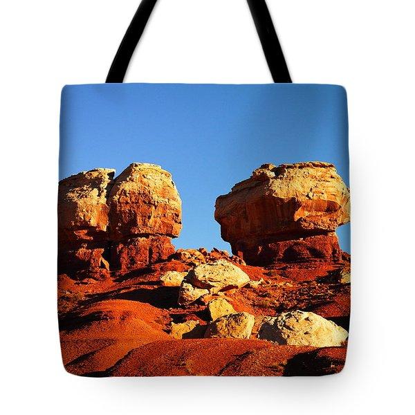 Two Big Rocks At Capital Reef Tote Bag by Jeff Swan