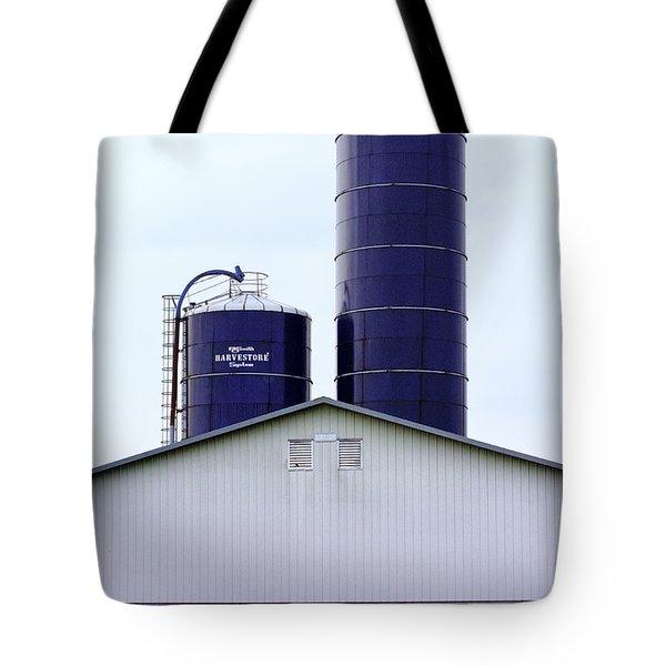 Two Blue Silos Tote Bag by Christi Kraft
