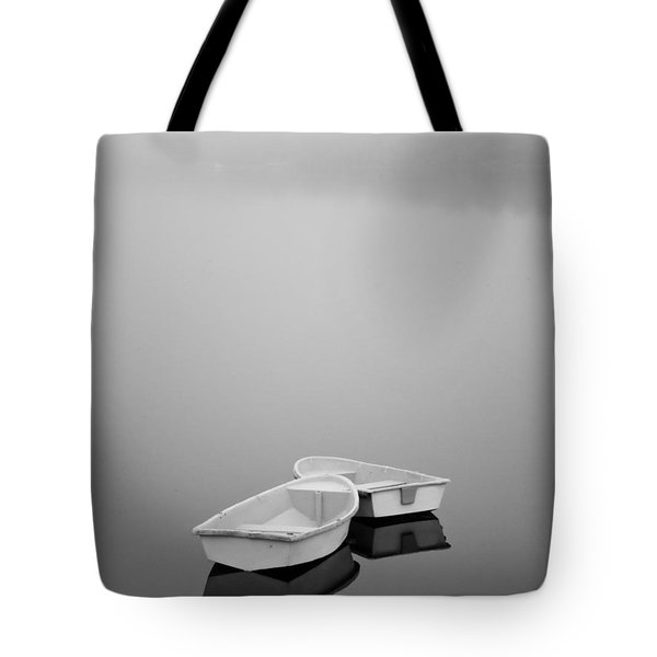 Two Boats and Fog Tote Bag by Dave Gordon