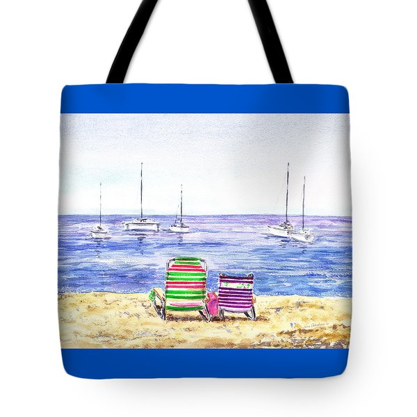 Two Chairs On The Beach Tote Bag by Irina Sztukowski