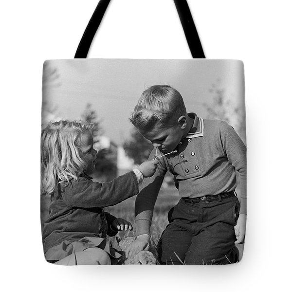 Two Children Tote Bag by Hans Namuth
