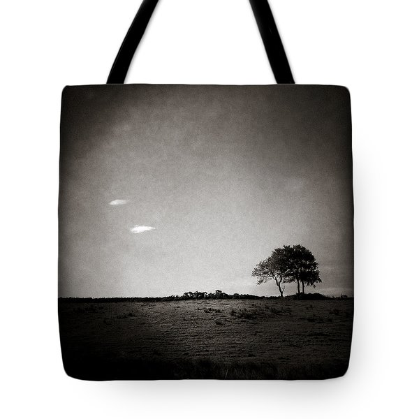 Two Clouds and a Tree Tote Bag by Dave Bowman