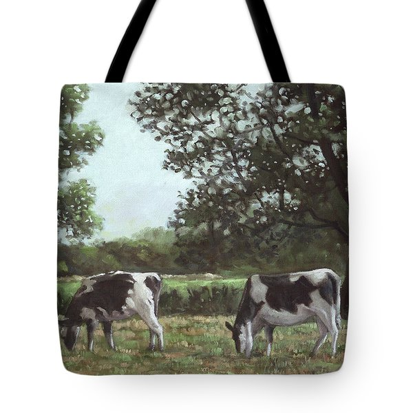 Two Cows In Field At Throop Dorset Uk Tote Bag by Martin Davey