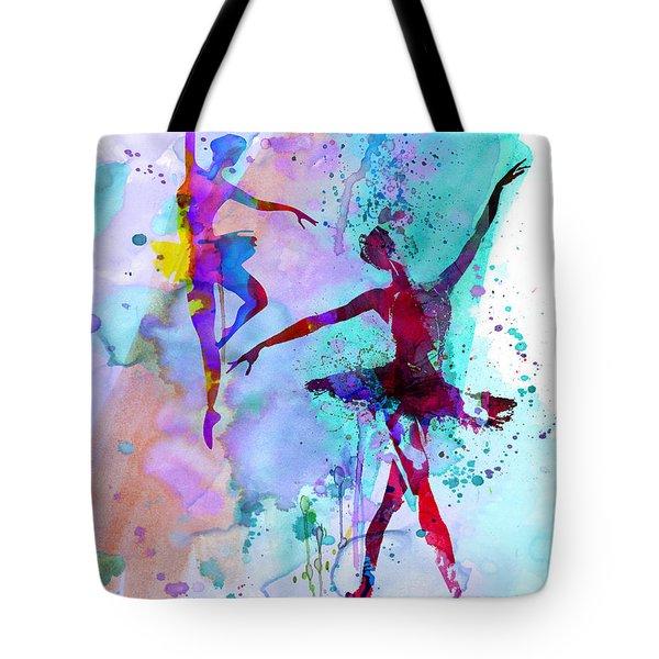 Two Dancing Ballerinas Watercolor 2 Tote Bag by Naxart Studio