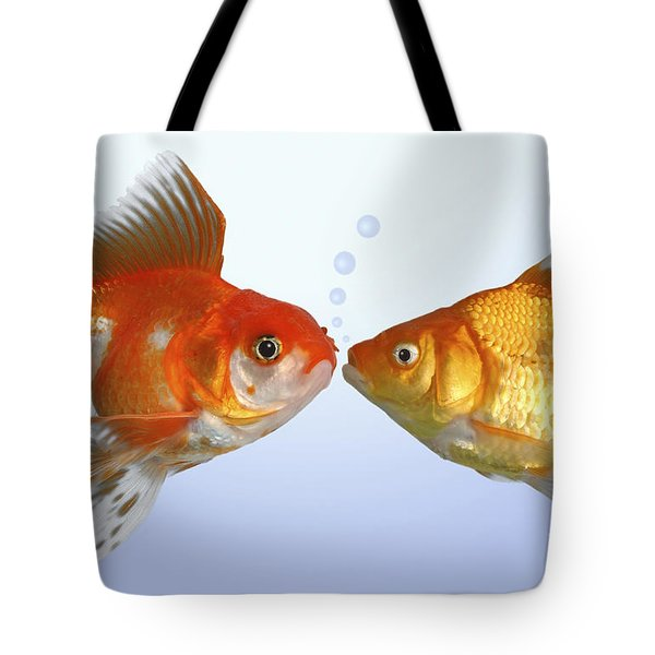 Two Fish Kissing Fs502 Tote Bag by Greg Cuddiford