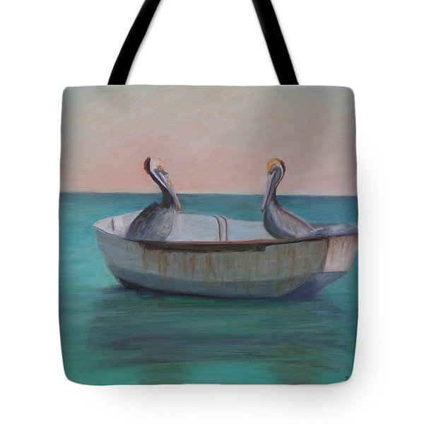 Two Friends In A Dinghy Tote Bag by Patty Weeks