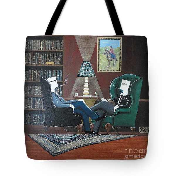 Two Gentlemen Sitting In Wingback Chairs At Private Club Tote Bag by John Lyes