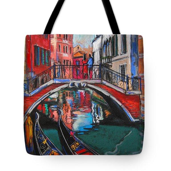 Two Gondolas In Venice Tote Bag by Mona Edulesco