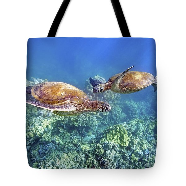 Two Green Turtles Tote Bag by M Swiet Productions