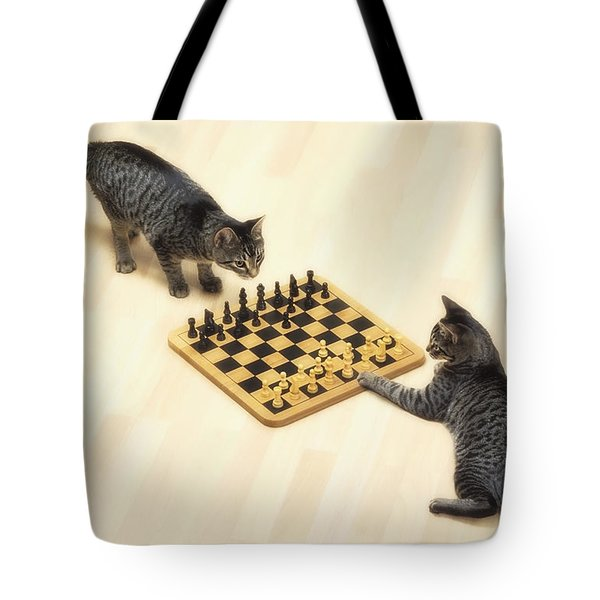 Two Grey Tabby Cats Playing Tote Bag by Thomas Kitchin & Victoria Hurst