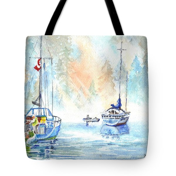 Two In The Early Morning Mist Tote Bag by Carol Wisniewski