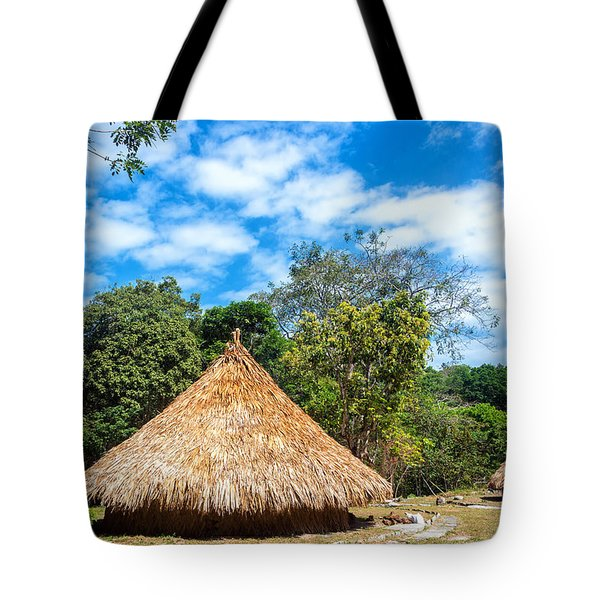 Two Indigenous Huts Tote Bag by Jess Kraft