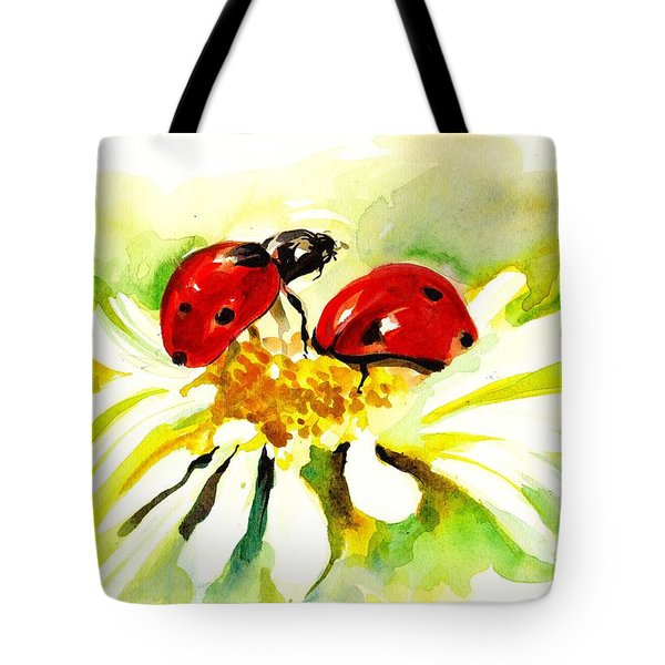 Two Ladybugs In Daisy After My Original Watercolor Tote Bag by Tiberiu Soos