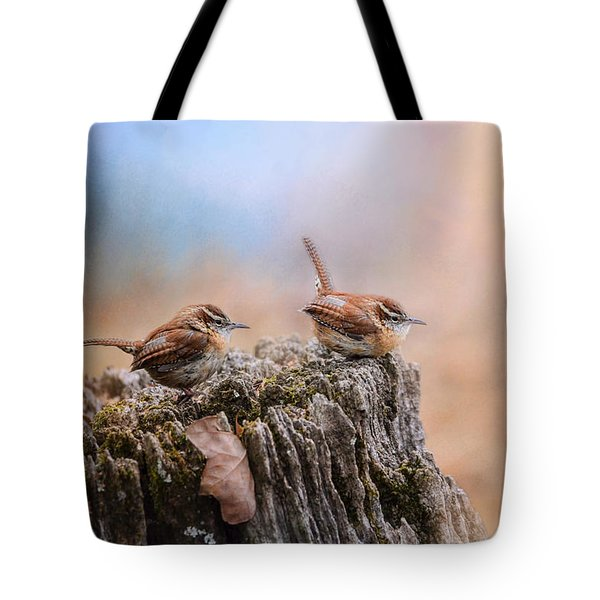 Two Little Wrens Tote Bag by Jai Johnson