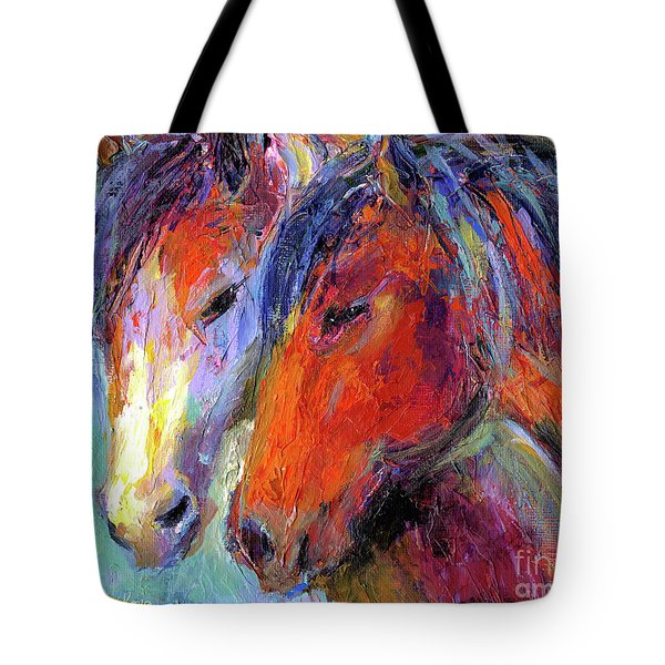 Two mustang horses painting Tote Bag by Svetlana Novikova