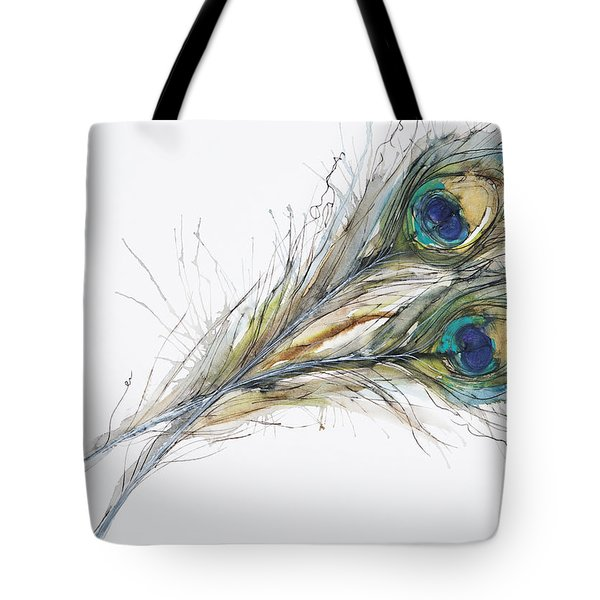 Two Peacock Feathers Tote Bag by Tara Thelen