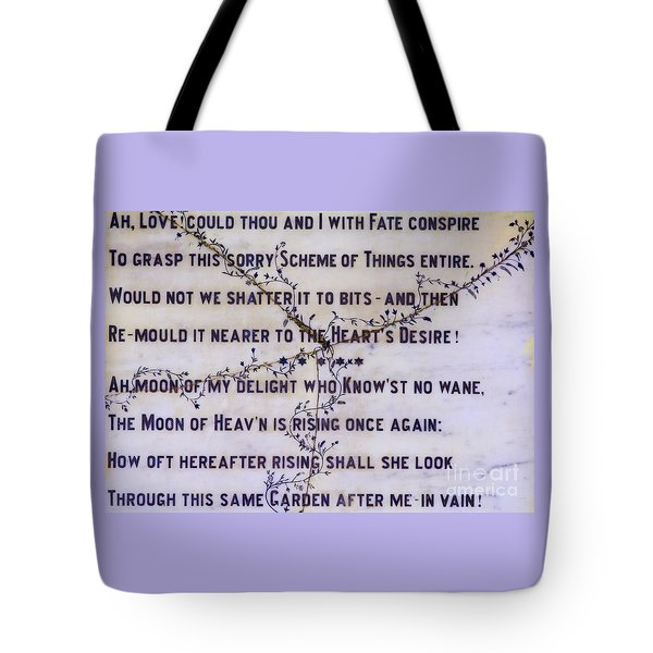 Two Poems on Marble Tote Bag by Moira Rowe