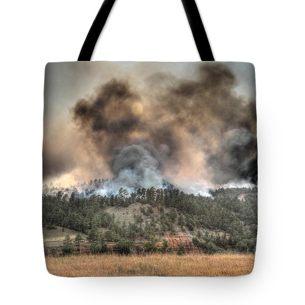 Tote Bag featuring the photograph Two Smoke Columns White Draw Fire by Bill Gabbert