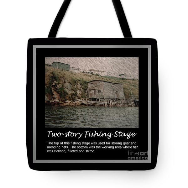 Two-story Fishing Stage Tote Bag by Barbara Griffin
