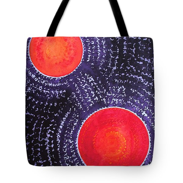Two Suns Original Painting Tote Bag by Sol Luckman
