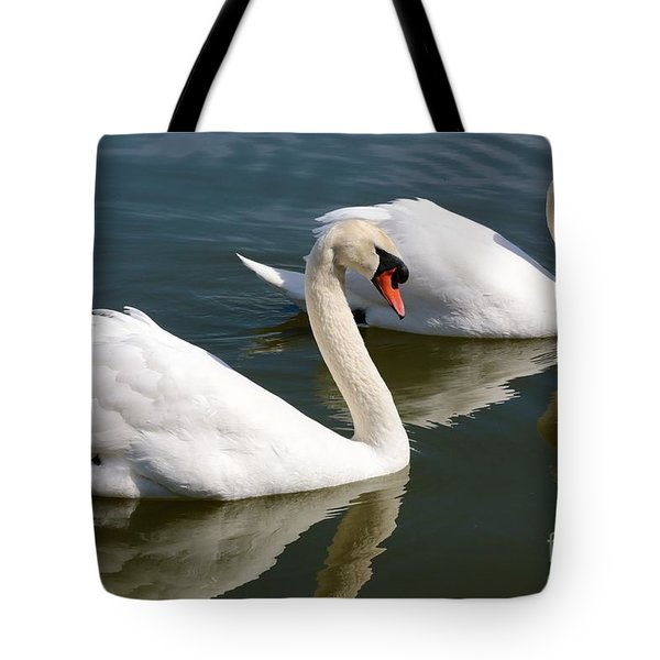 Two Swimming Swans Tote Bag by Carol Groenen