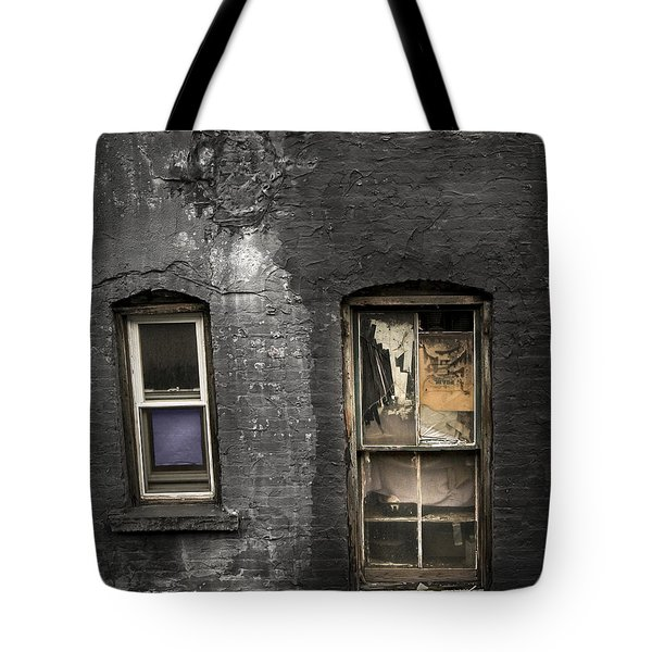 Two Windows Old And New - Old Building In New York Chinatown Tote Bag by Gary Heller