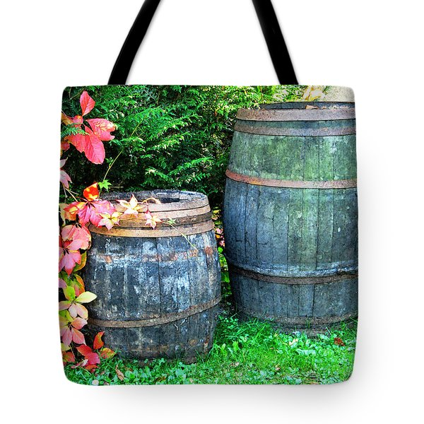 Two Wine Barrels And Red Ivy Digital Print Tote Bag by Greg Matchick