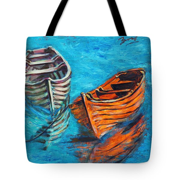 Two Wood Boats Tote Bag by Xueling Zou