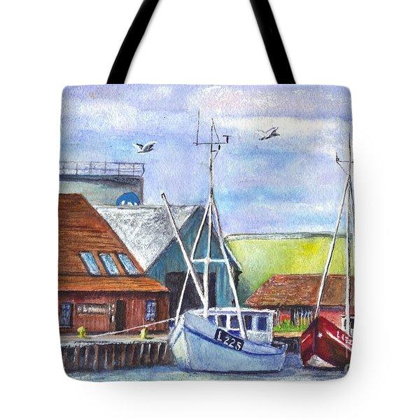 Tyboron Harbour In Denmark Tote Bag by Carol Wisniewski