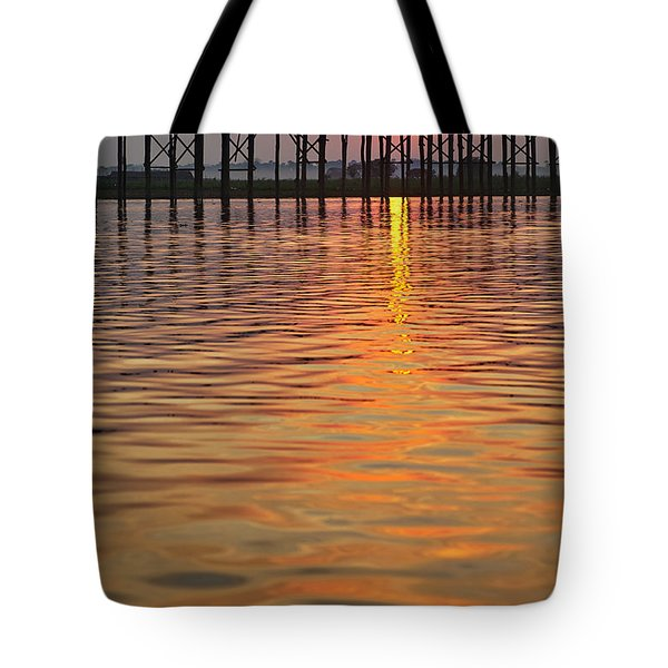 U Bein Bridge In Mandalay Tote Bag by Juergen Ritterbach