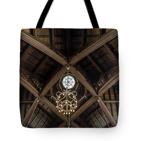 Uf University Auditorium Vaulted Wooden Arches Tote Bag by Lynn Palmer