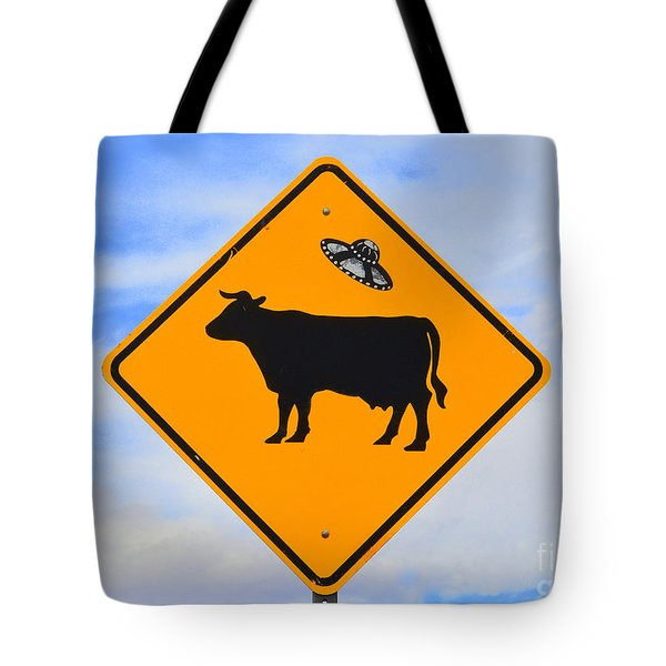 Ufo Cattle Crossing Sign In New Mexico Tote Bag by Catherine Sherman