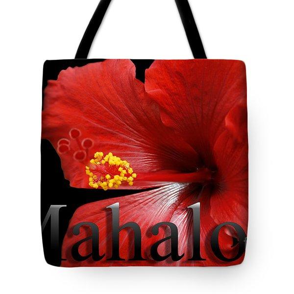 Ula Anoano Hanohano Red Tropical Hibiscus Mahalo Tote Bag by Sharon Mau