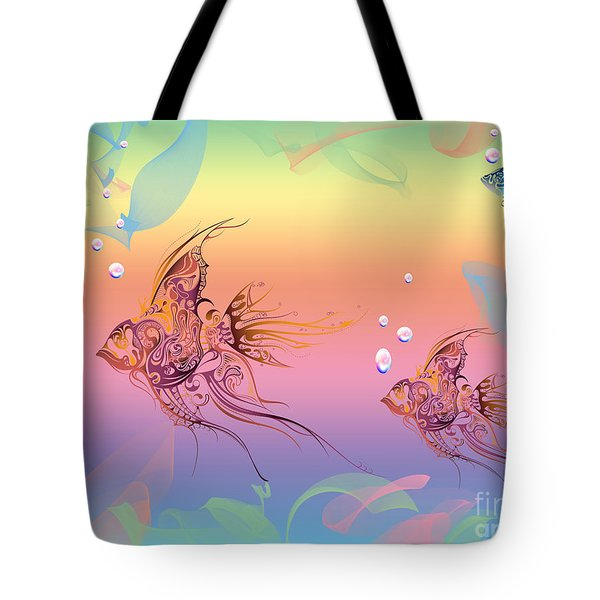 Under The Sea Angel Fish Tote Bag by Cheryl Young