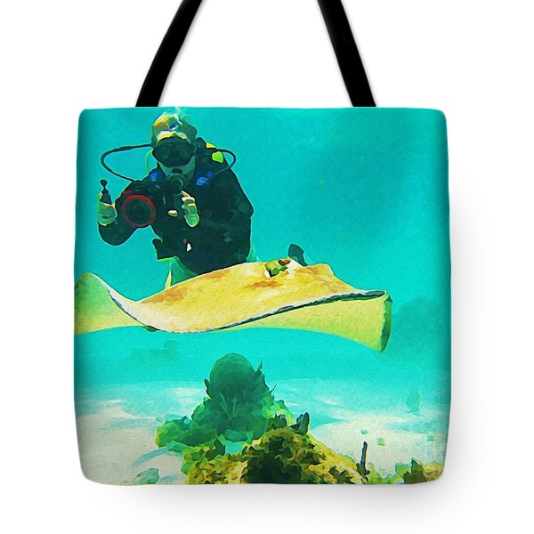 Underwater Photographer And Stingray Tote Bag by John Malone Halifax Artist
